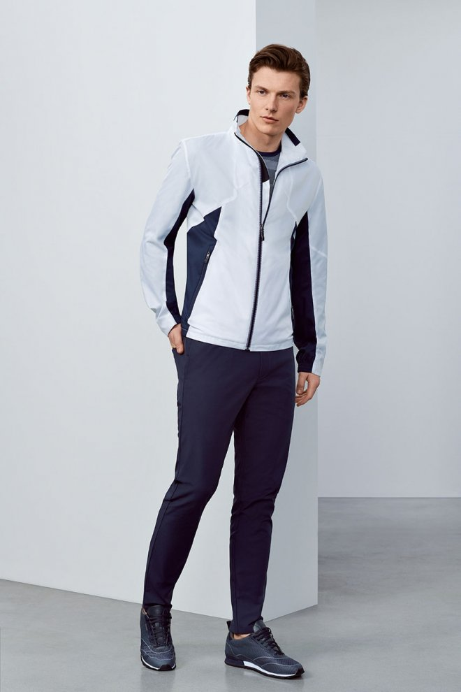 white and blue jacket sport